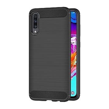 AICEK Funda Samsung Galaxy A70, Negro Silicona Fundas para Samsung Galaxy A70 Carcasa Samsung Galaxy A70 Fibra de Carbono Funda Case (6,7 Pulgadas)