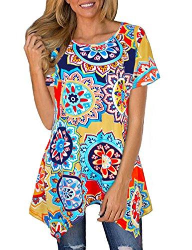 Sanifer Women Floral Short Sleeve Irregular Hem Tunic Tops Asymmetrical Tunics T-Shirts Blouses ()