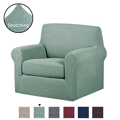 H.VERSAILTEX 2-Piece Spandex Stretch Sofa Slipcover for Chair, Anti-Slip Rich Lycra Knitted Jacquard Sofa Cover Machine Washable Furniture Protector, Solid Sage, 1 Seater -
