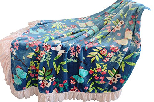 Sahaler Floral Flannel Knitting Ruffle Dot Soft Blanket Girl's Throw 59