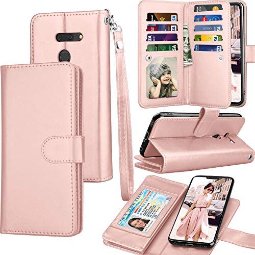 LG G8 Case, 2019 LG G8 ThinQ Wallet Case, Tekcoo Luxury ID Cash Credit Card Slots Holder PU Leather Carrying Purse Folio Flip Cover Cases [Detachable Magnetic Hard Case] Kickstand Strap [Rose Gold]