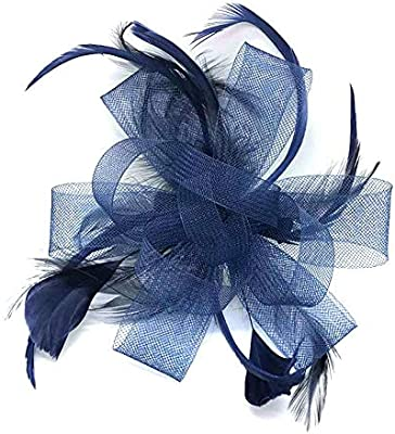 Wedding Races Prom Royal Blue Looped Net /& Feather Fascinator on Alice Band