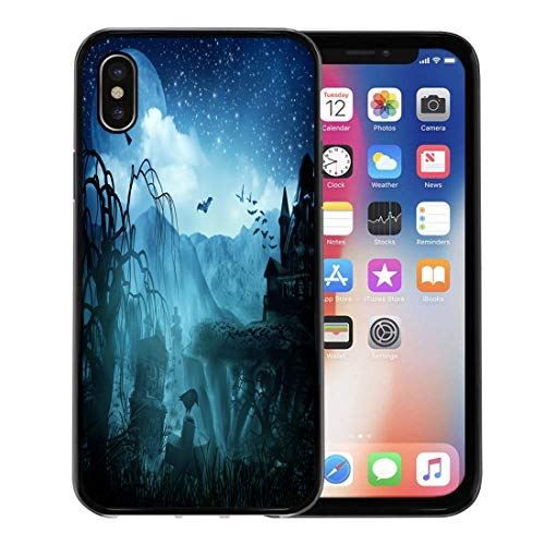 Semtomn Phone Case for Apple iPhone Xs case,Green Spooky Abstract Halloween Forest Scene Tree Spider Gothic for iPhone X Case,Rubber Border Protective Case,Black