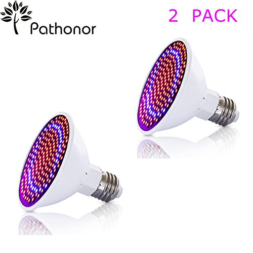 LED Grow Light Bulb 2 PACK , PATHONOR 20W E27/E26 LED Grow Light Plant light Bulb Greenhouse Plant lights Seedling Light 166 Red 34 Blue for Garden Greenhouse and Hydroponic Aquatic by PATHONOR