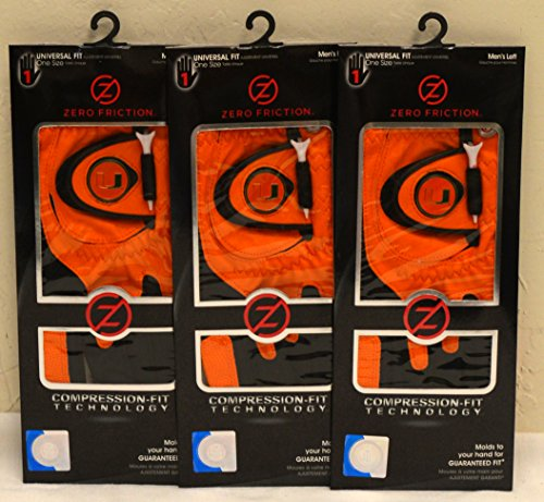 3 Zero Friction Men's Left Hand Universal Golf Gloves - University of Miami - Orange by Friction