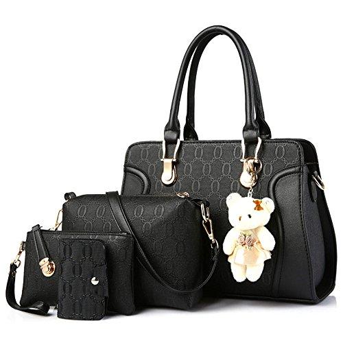 Xuanbao La Bolsa de Asas Negra del Viajero de la Mujer Bolsas Portables de la Madre-Niño Diagonal Bolsos de Cuatro Piezas (Color : Silver Gray) Negro