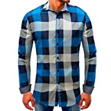 Clearance Sale Mens Shirts vermers Men Lattice Denim Long-Sleeve Beefy Button Basic Solid Blouse Tee Shirt Top(2XL, Blue)