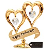 Matashi 24K Gold Plated Happy Anniversary Inscribed Double Heart Ornament with Crystals