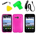 TPU Flexible Skin Cover Case Cell Phone Accessory + Car Charger + Screen Protector + Extreme Band + Stylus Pen + Pry Tool For Alcatel Onetouch Pixi Glitz A463BG (TPU Pink)