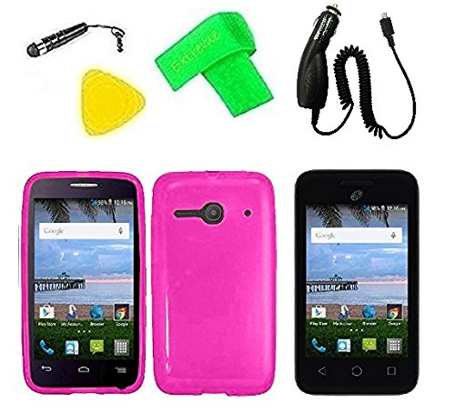 TPU Flexible Skin Cover Case Cell Phone Accessory + Car Charger + Screen Protector + Extreme Band + Stylus Pen + Pry Tool For Alcatel Onetouch Pixi Glitz A463BG (TPU Pink) from ExtremeCases