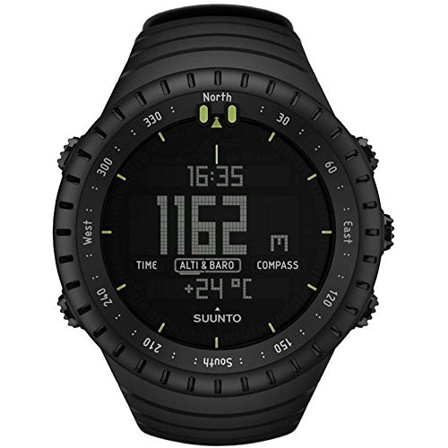 Suunto Core Wrist-Top Computer Watch with Spare Replacement Band Bundle (All Black with Black Leather Replacement Band)