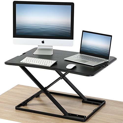 FITUEYES Height Adjustable Standing Desk Sit Stand Up Gas Spring Riser Converter 32'' Tabletop Workstation fits Dual Monitors SD208001WB by FITÜEYES