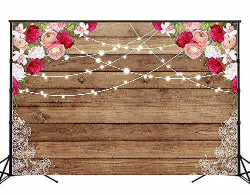 Muzi 7x5ft Rustic Wood Flowers Lace Backdrop for Photography Art Fabric Seamless Wedding Photo Background Wooden Floor Texture Baby Shower Kids Birthday Party Banner Photo Studio Prop Photocall W-1784