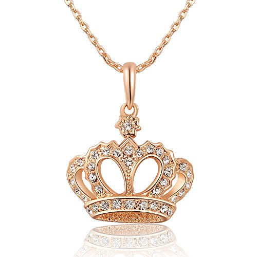 S17 Womens Queen's Crown Necklace Rose Gold Color With Czech Drill