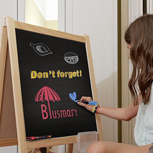Chalk Markers, Blusmart 12 pack Colorful Erasable Glass Window Pens with 40 Chalkboard Labels, Reversible Tips 6mm+3mm, Children Friendly by Blusmart (Image #5)
