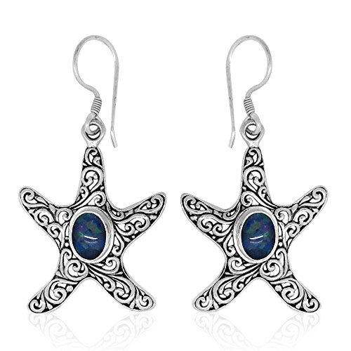 Opal Sterling Silver Star Fish Earrings (Boulder Opal Earrings)