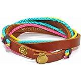 Jirong leather wrap cuff bracelet women's wrap leather bracelet with leather and colorful hemp ropes men wrist bracelet friendship gift SL2610
