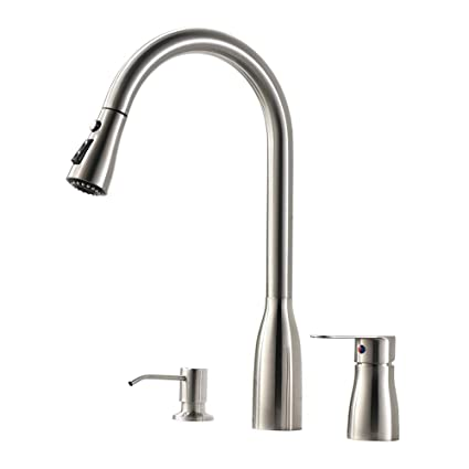 VESLA HOME 3 Hole Modern Single-Handle Swivel Single Lever Brushed Nickel  Pull Out Kitchen Faucet, Soap Dispenser Kitchen Faucets, Kitchen Sink Faucet