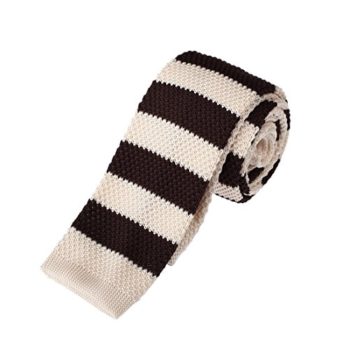 (Dan Smith DAO3A01B Beige Brown Stripes Gift For Shopstyle Skinny Neck Tie Microfiber Factory Designer)
