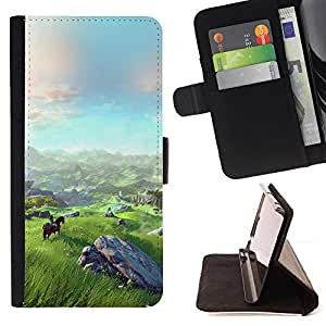 For Samsung Galaxy Note 4 IV Landscape View Mountain Horse Riding Art Style PU Leather Case Wallet Flip Stand Flap Closure Cover