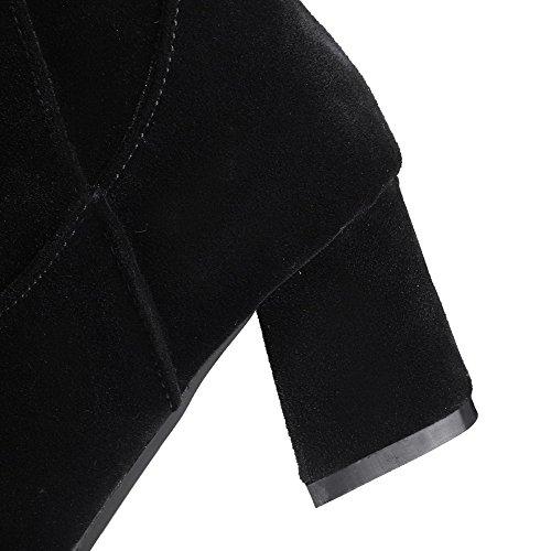 High Allhqfashion Black top Zipper Toe Boots Suede Kitten Closed Women's Imitated Heels Square zrRTqzUg