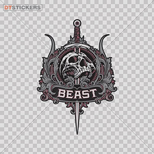 Vinyl Sticker Decals Skull Beast Fantasy Emblem Sports Bike Medical Risk Angry Holiday  4 X 2 79 Inches  Fully Waterproof Printed Vinyl Sticker