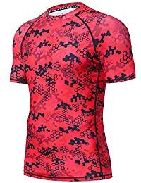 LAFROI Men's Short Sleeve UPF 50+ Baselayer Skins Compression Rash Guard