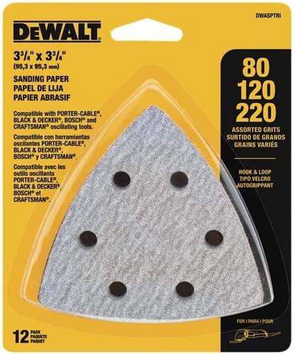 DEWALT Sandpaper Assortment, Hook and Loop Triangle, 12-Pack (DWASPTRI) 51ldMOCwzmL