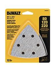 DEWALT DWASPTRI Hook and Loop Triangle Sandpaper Assorted, 12...