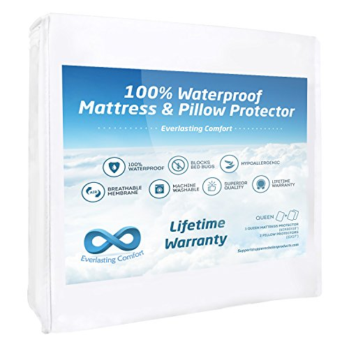 100% Waterproof Mattress Protector and 2 Free Pillow Protectors by Everlasting Comfort. Complete Set, Hypoallergenic, Breathable Membrane (Queen) - 2 Free Mattresses