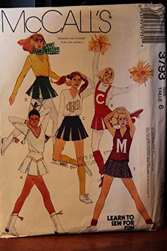 McCall's Pattern 3793 Size 6 / Misses' Top Skirt, Briefs And Detachable Bib, Briefs - Top For Stretch Knits Only