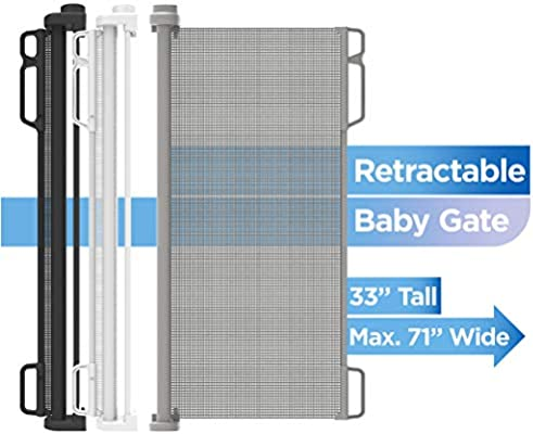 """Gray Perma Child Safety Outdoor Retractable Baby Gate Extra Wide up to 71"""""""