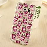 French Fries Popcorn Black Cat Banana Donuts Printing Googly Moving Eyes Soft TPU Rubber Gel Case for Samsung Galaxy Note 5(Popcorn Pink)