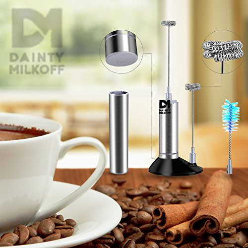 Dainty Milkoff Electric Milk Frother for Coffee Handheld Foam Maker for Lattes, Cappuccino and Flat White Easy to Use and Safe Milk Frother Electric Mixer for Drinks Stand Included