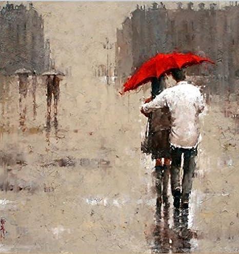 Amazon.com: Real Romántico Pareja bajo el paraguas rojo lona ...