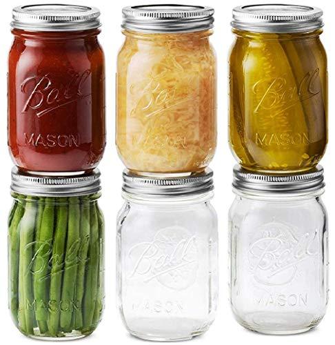 Ball Mason Jars 16 oz/Pint - Regular Mouth Jars with Airtight lids & Bands, Microwave & Dishwasher Safe + SEWANTA Jar Opener - 6 Jars