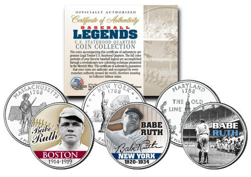 Baseball Legend BABE RUTH State Quarters US 3-Coin Set - Mail-in-Offer - Ruth Coin Babe Set