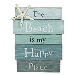 The Beach Is My Happy Place - Plank Board Sign with Starfish and Rhinestone Accents 12\