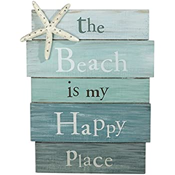 """The Beach Is My Happy Place - Plank Board Sign with Starfish and Rhinestone Accents 12"""" X 9"""""""