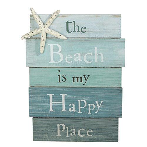 Grasslands Road The Beach Is My Happy Place - Plank Board Sign with Starfish and Rhinestone Accents White, Blue 12