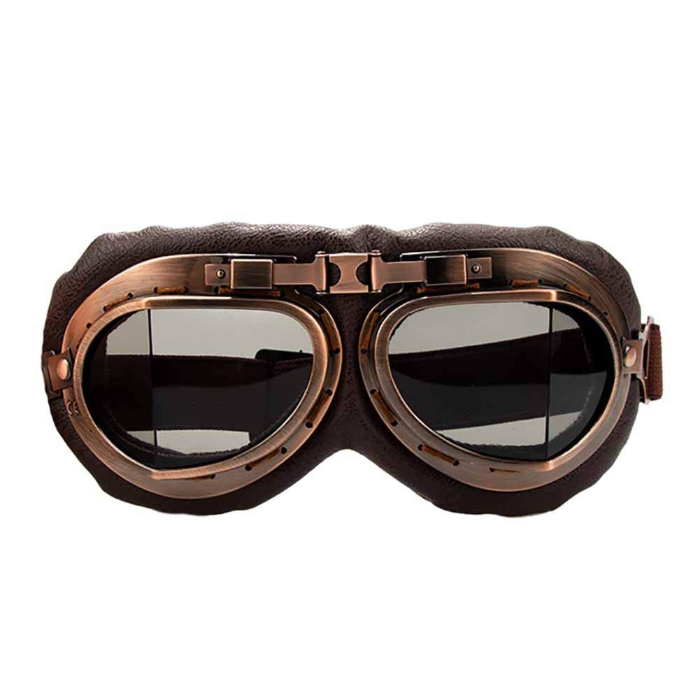 4e11298ea7 Aesy Motorcycle Goggles Glasses Vintage Motocross Classic Goggles Retro  Aviator For Harley Protection Eyewear UV Protection (Grey)  Amazon.co.uk   Car   ...
