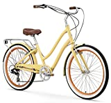 "sixthreezero EVRYjourney Women's 7-Speed Step-Through Hybrid Cruiser Bicycle, Cream w/Brown Seat/Grips, 26"" Wheels/ 17.5"" Frame"