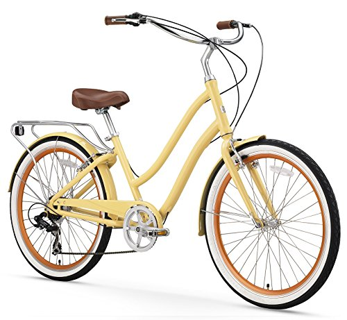 (sixthreezero EVRYjourney Women's 7-Speed Step-Through Hybrid Cruiser Bicycle, Cream w/Brown Seat/Grips, 26