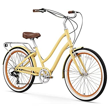 sixthreezero EVRYjourney Women's 26-Inch 7-Speed Step-Through Hybrid Cruiser Bicycle, Cream