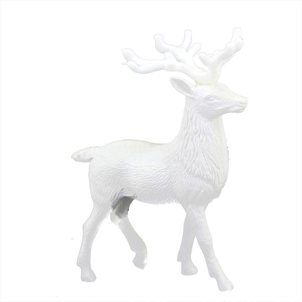 "SUKEQ 5.5"" Inch Christmas White Deer Standing Xmas Reindeer Kids Doll Toys Gift Decor Home Decoration Party Ornament"