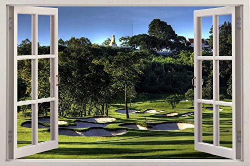 LJLQ 3D Effect Window View Wall Sticker Golf Course Resort Frame Vinyl Applique Decorative Mural Bedroom Kitchen Bathroom Wall Art, 60 cm (24 Inches) X 90 cm (36 Inches)