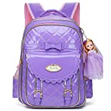 Waterproof PU Leather Kids Backpack Cute School Bookbag for Girls (Large