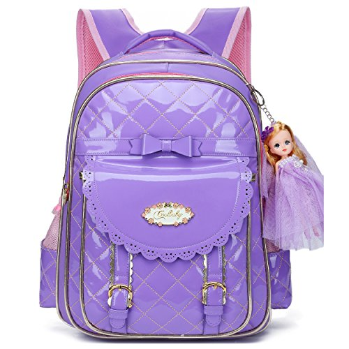 Waterproof PU Leather Kids Backpack Cute School Bookbag for Girls (Large, Purple-2)