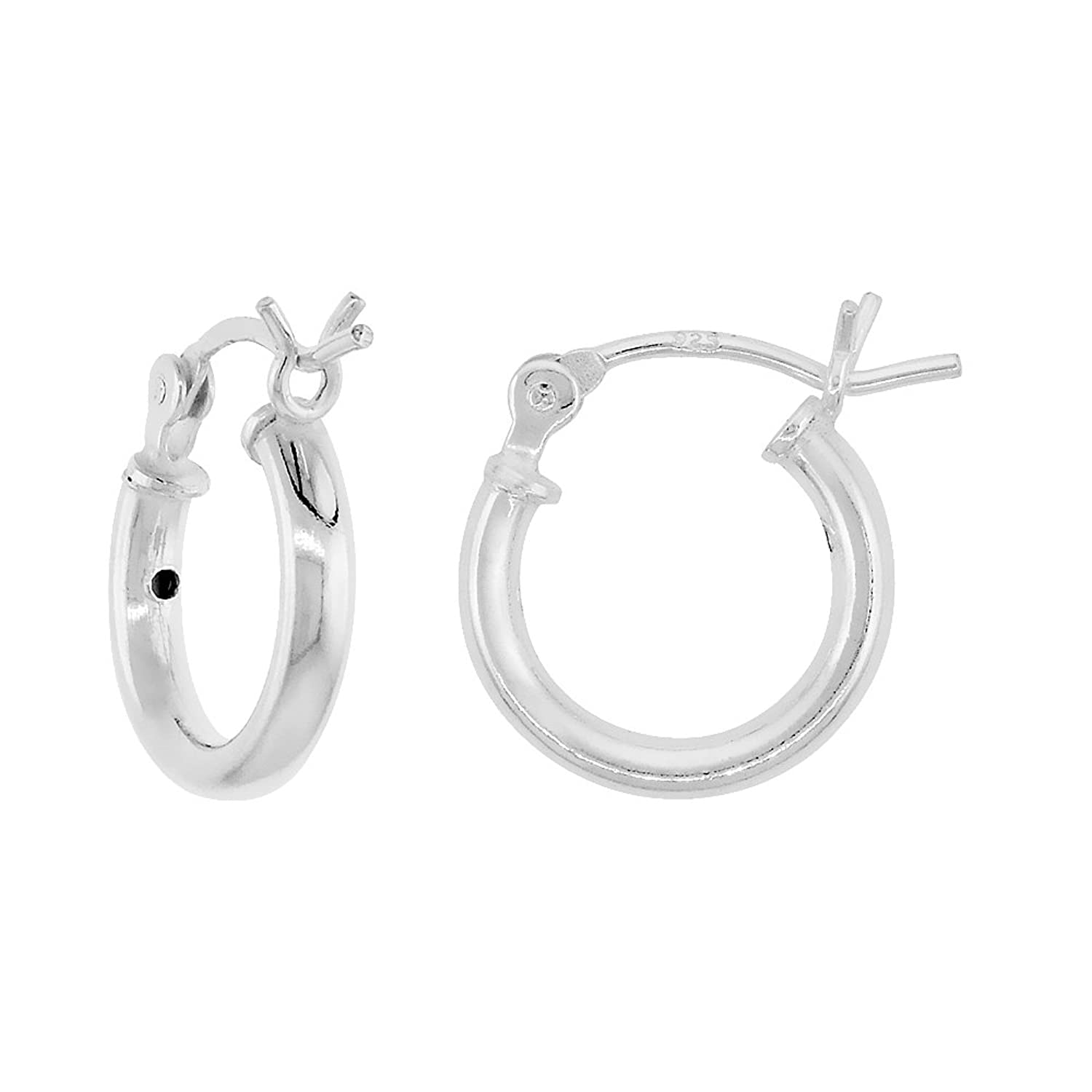 Tiny Sterling Silver Small Tube Hoop Earrings with Post-Snap Closure 2mm thick 1/2 inch round