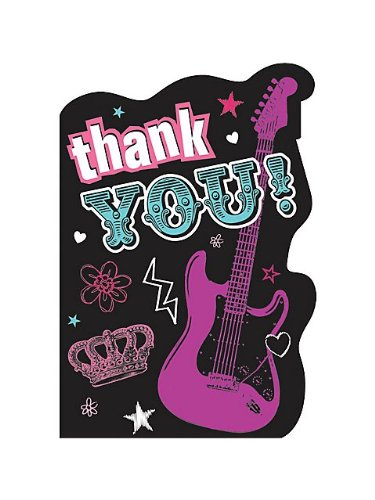 Amscan Trendy Rocker Princess Birthday Party Thank You Cards Supply (8 Pack), 6 1/4